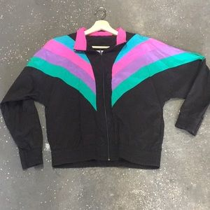 vintage colorful 90s windbreaker zip up jacket